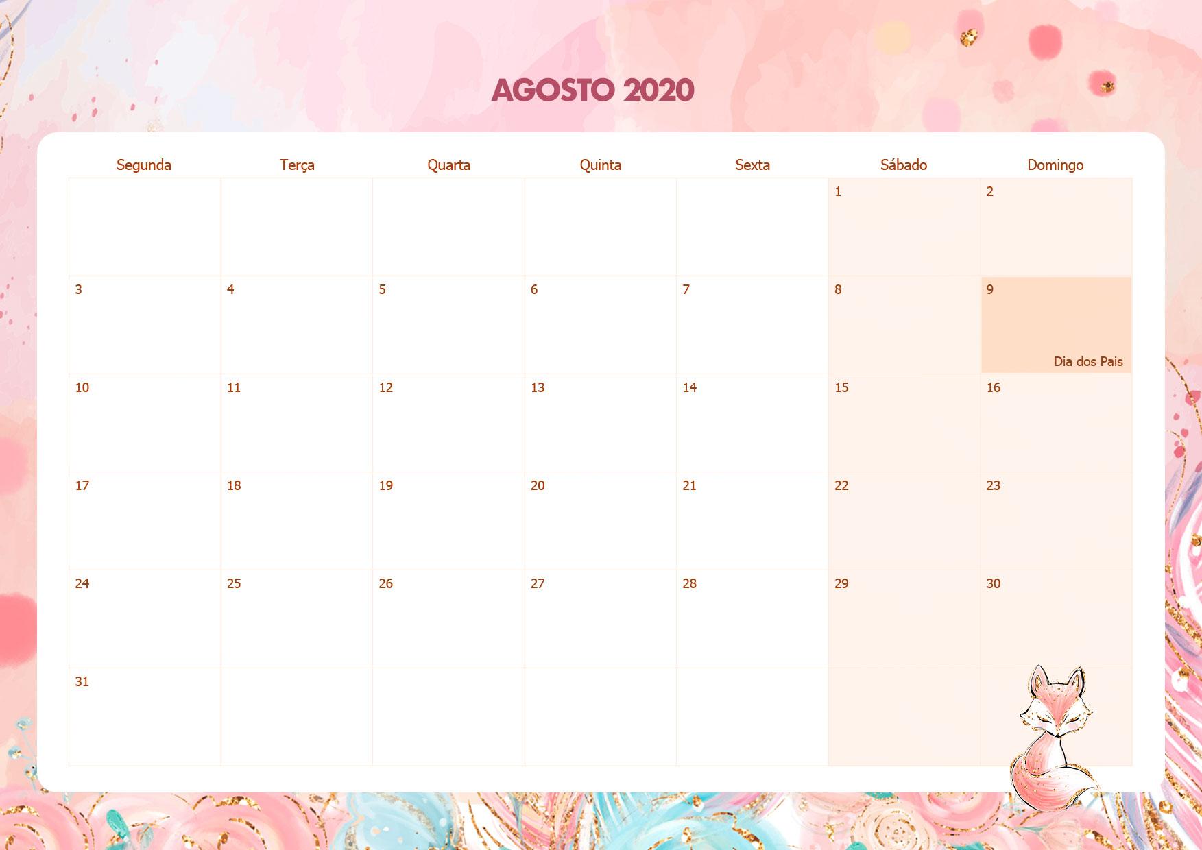 Calendario Mensal Raposinha Agosto 2020