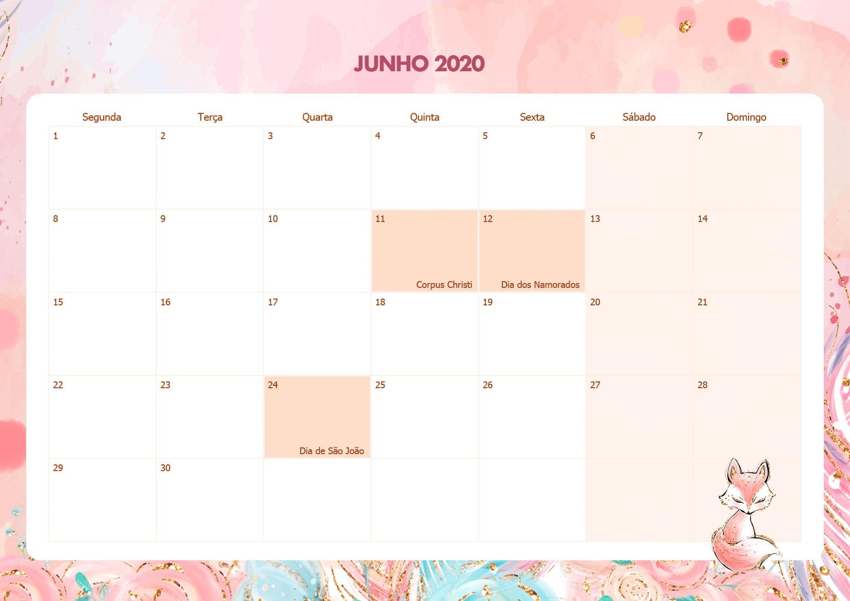 Calendario Mensal Raposinha Junho 2020