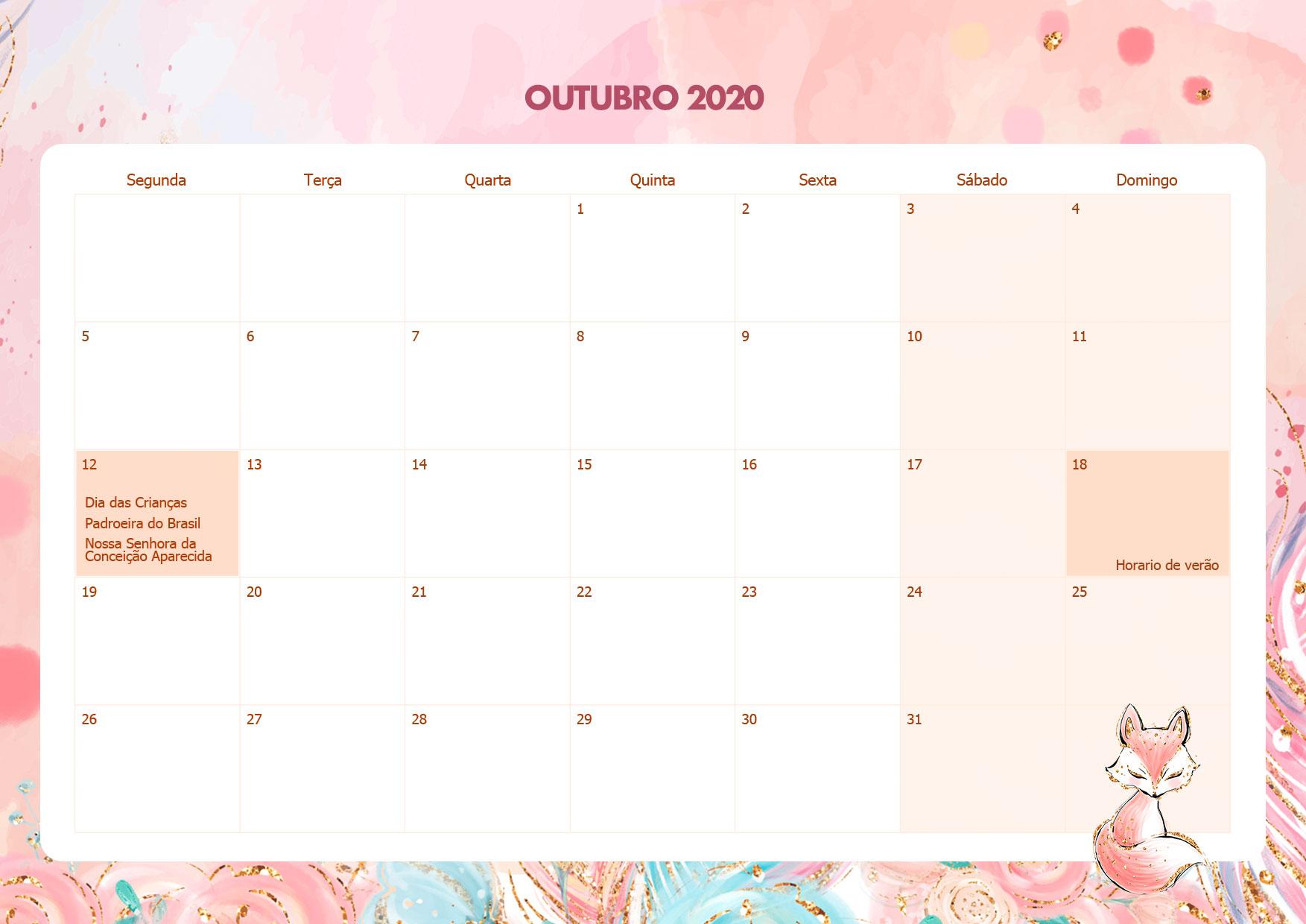 Calendario Mensal Raposinha Outubro 2020