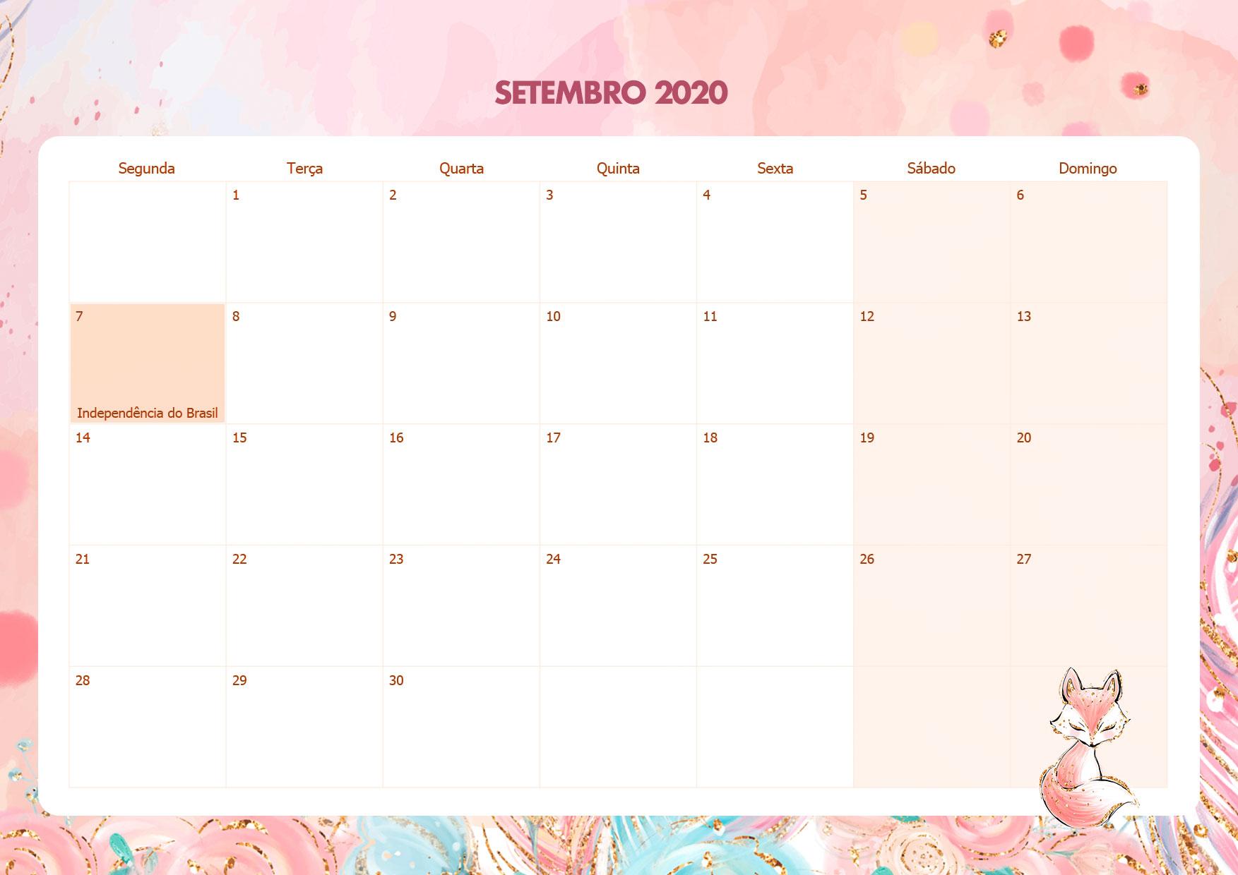 Calendario Mensal Raposinha Setembro 2020