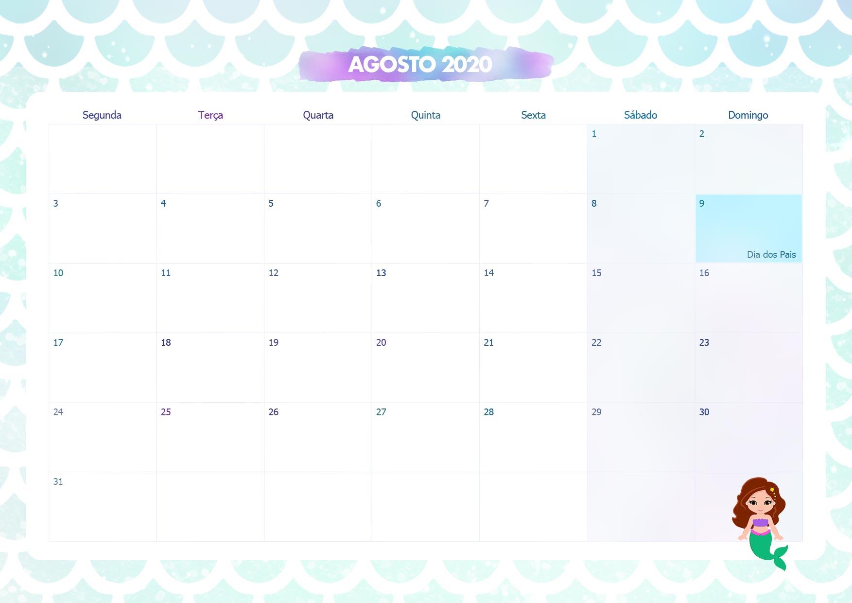 Agosto 2020 Calendario.Calendario Mensal Sereia Agosto 2020 Fazendo A Nossa Festa