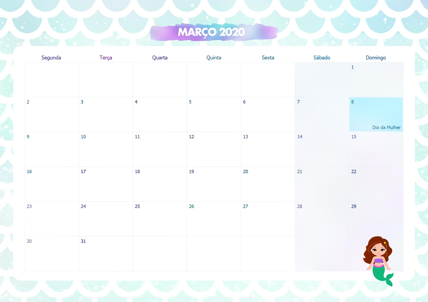 Calendario Mensal Sereia Marco 2020