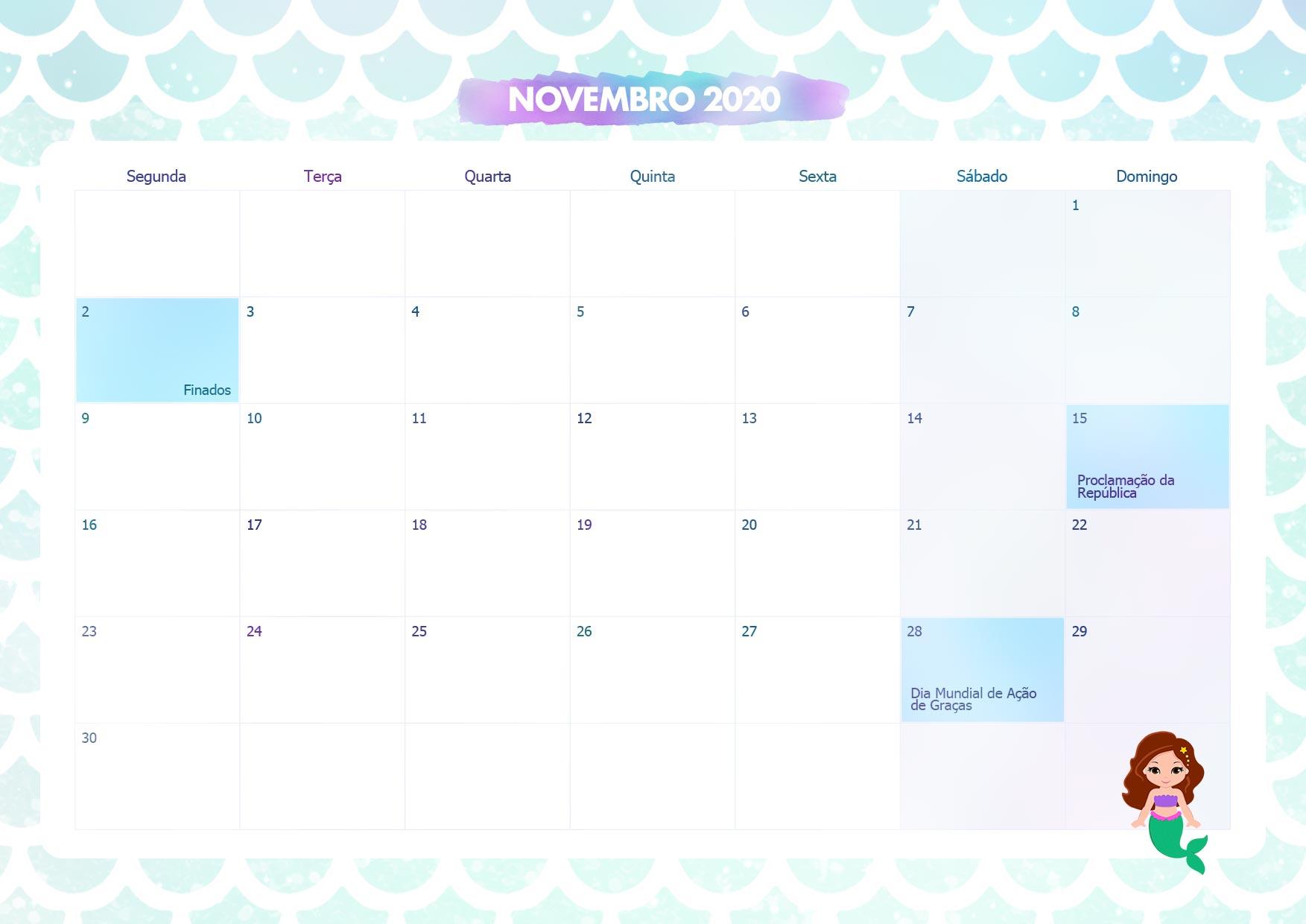 Calendario Mensal Sereia Novembro 2020