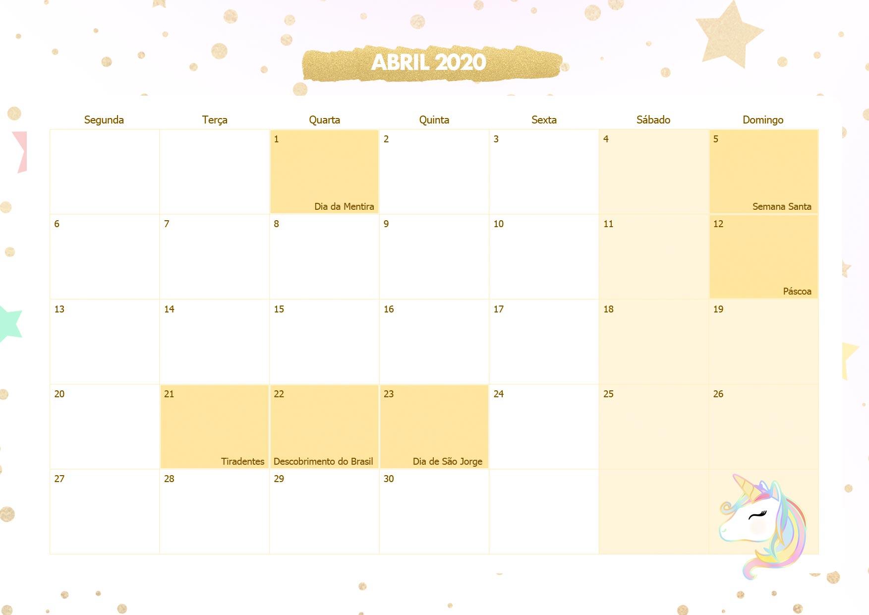 Calendario Mensal Unicornio Dourado Abril 2020