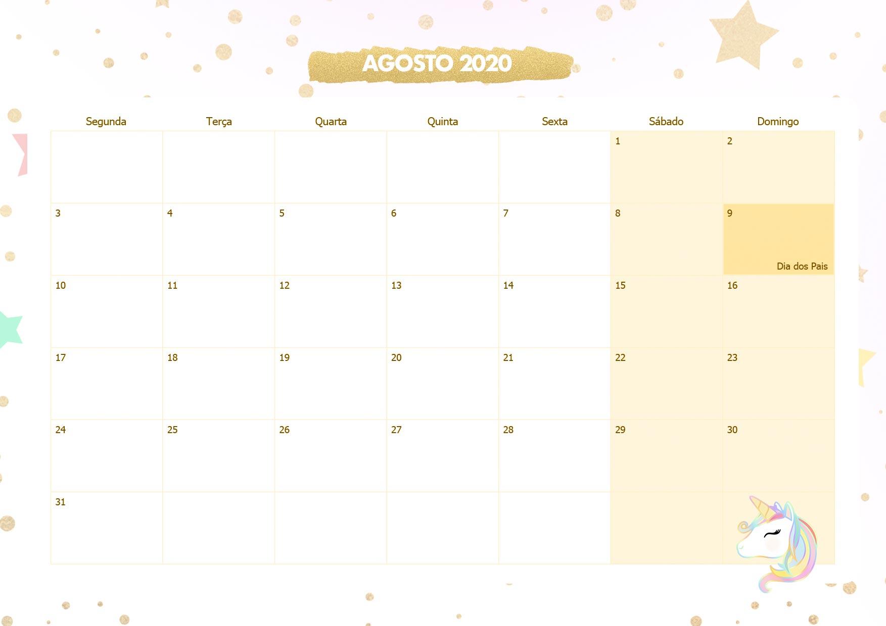 Calendario Mensal Unicornio Dourado Agosto 2020
