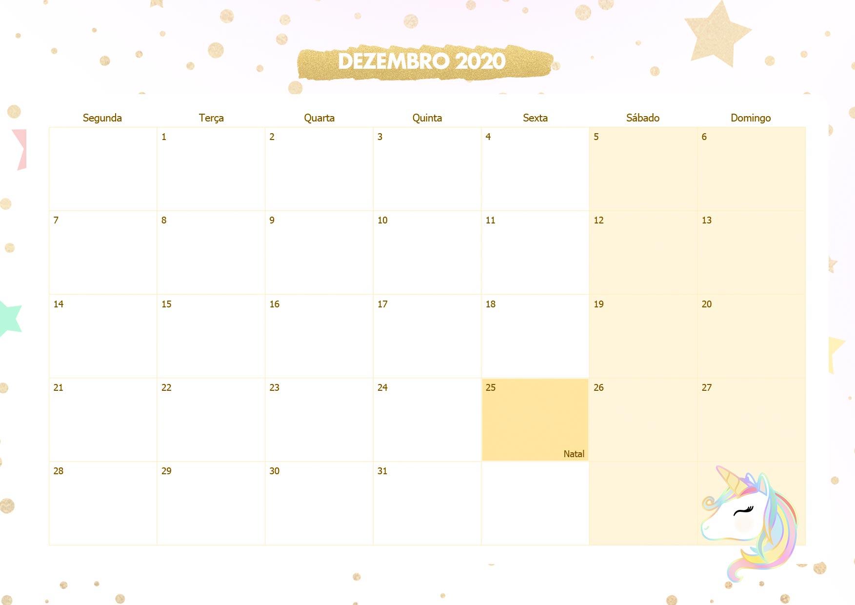Calendario Mensal Unicornio Dourado Dezembro 2020