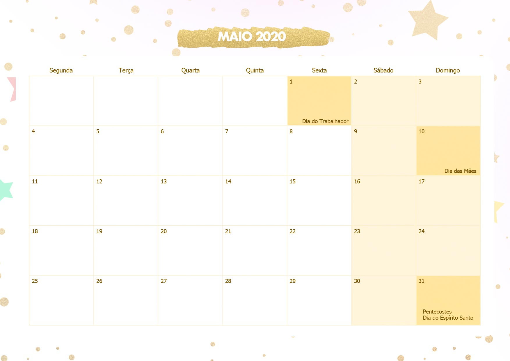 Calendario Mensal Unicornio Dourado Maio 2020