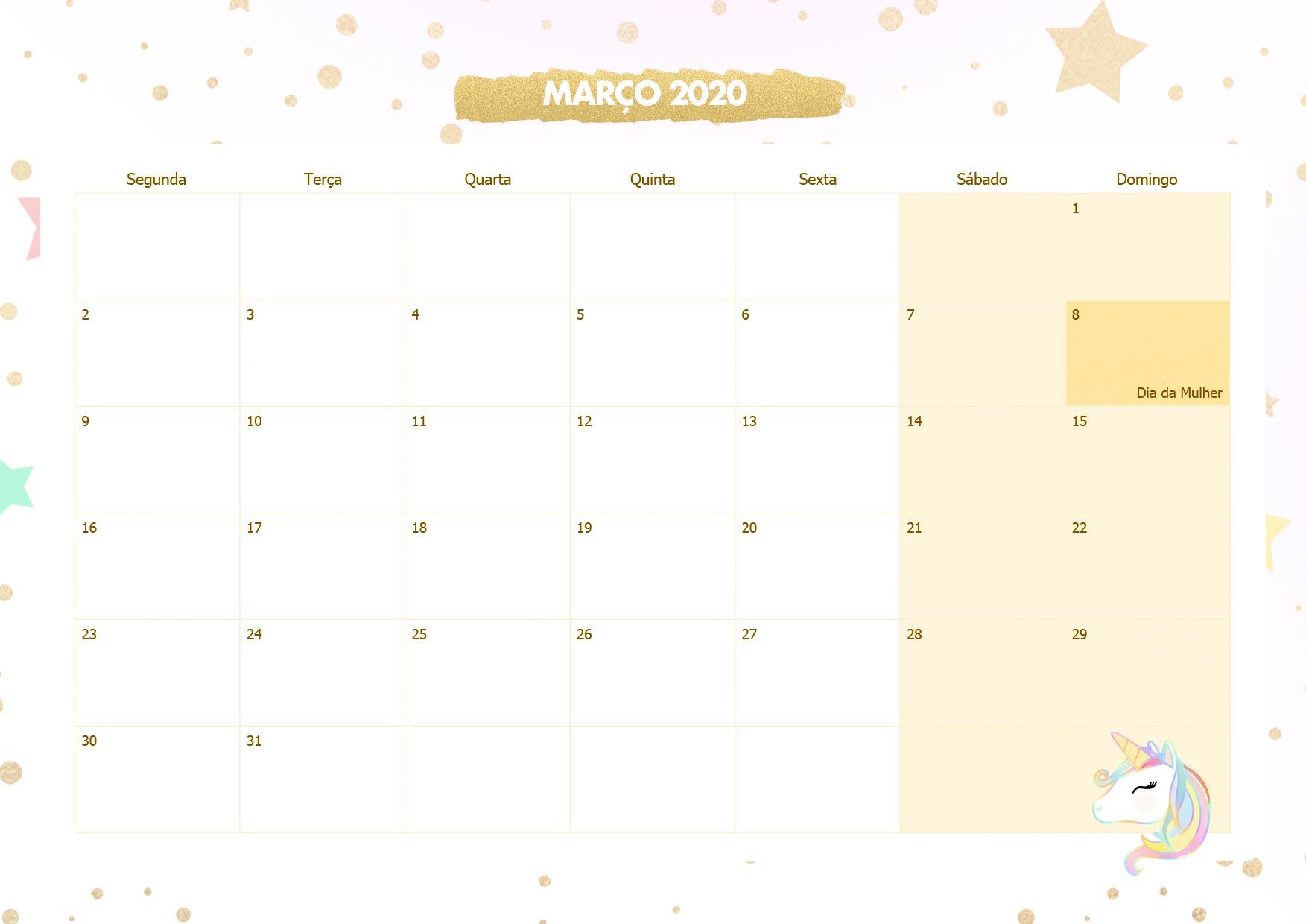 Calendario Mensal Unicornio Dourado Marco 2020