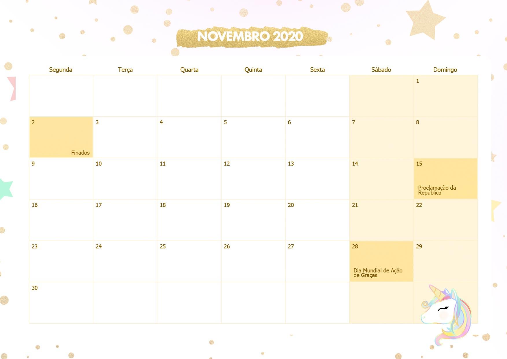 Calendario Mensal Unicornio Dourado Novembro 2020