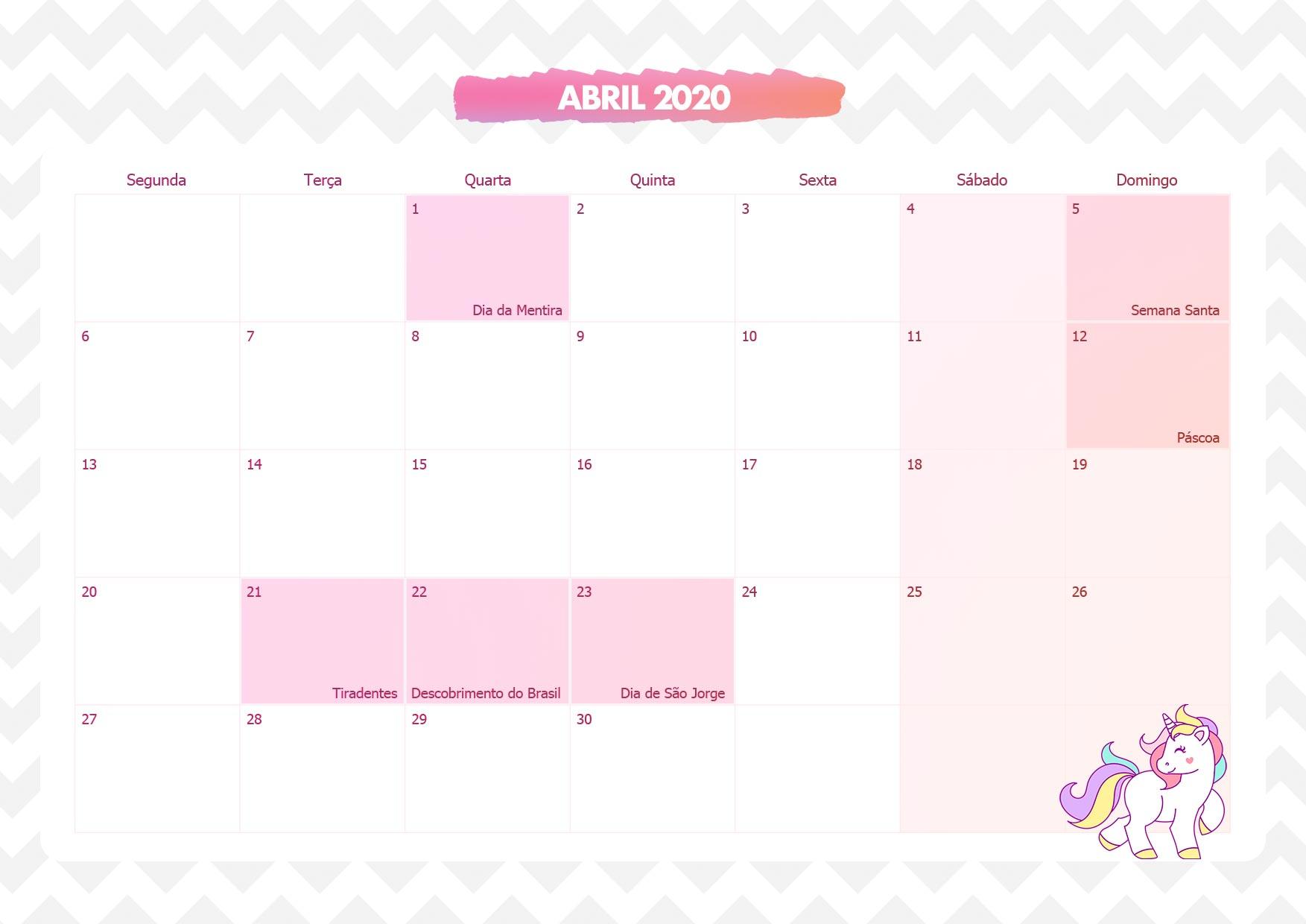 Calendario Mensal Unicornio Rosa Abril 2020