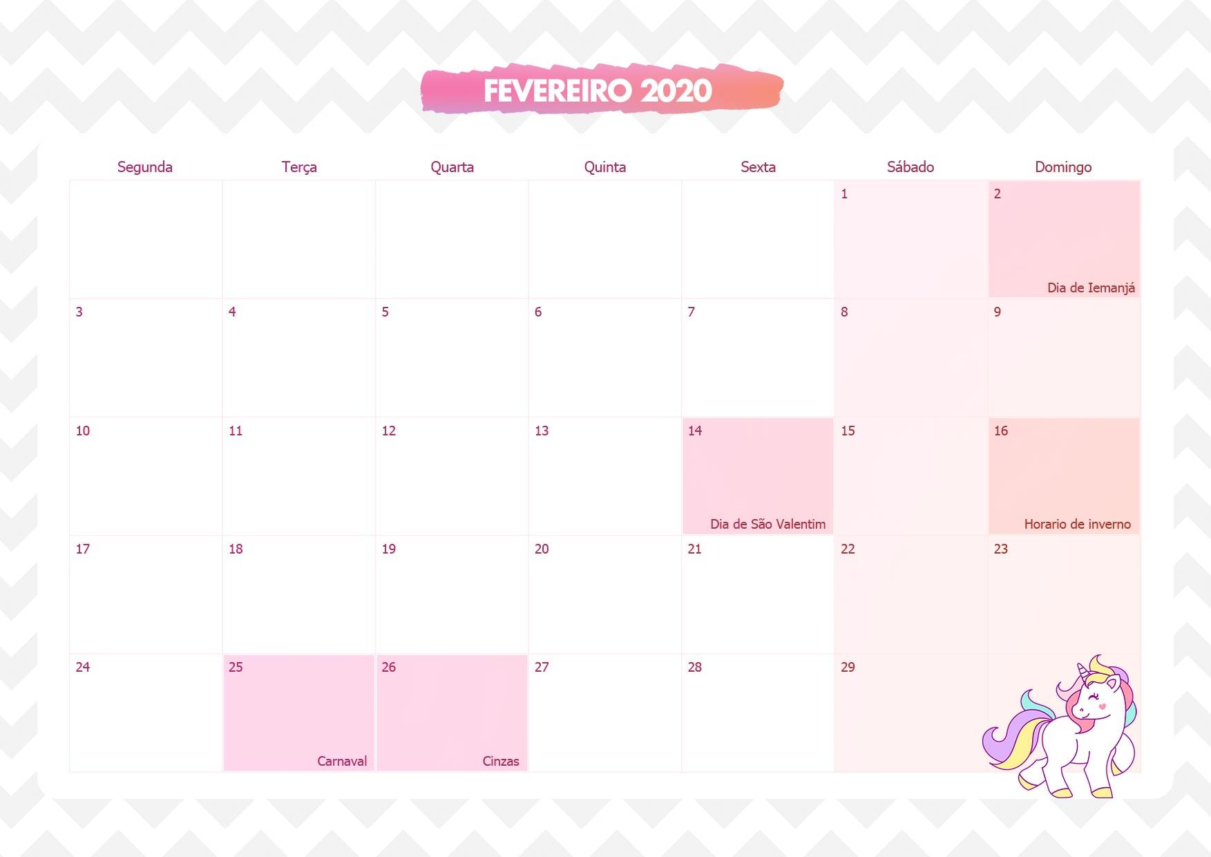 Calendario Mensal Unicornio Rosa Fevereiro 2020