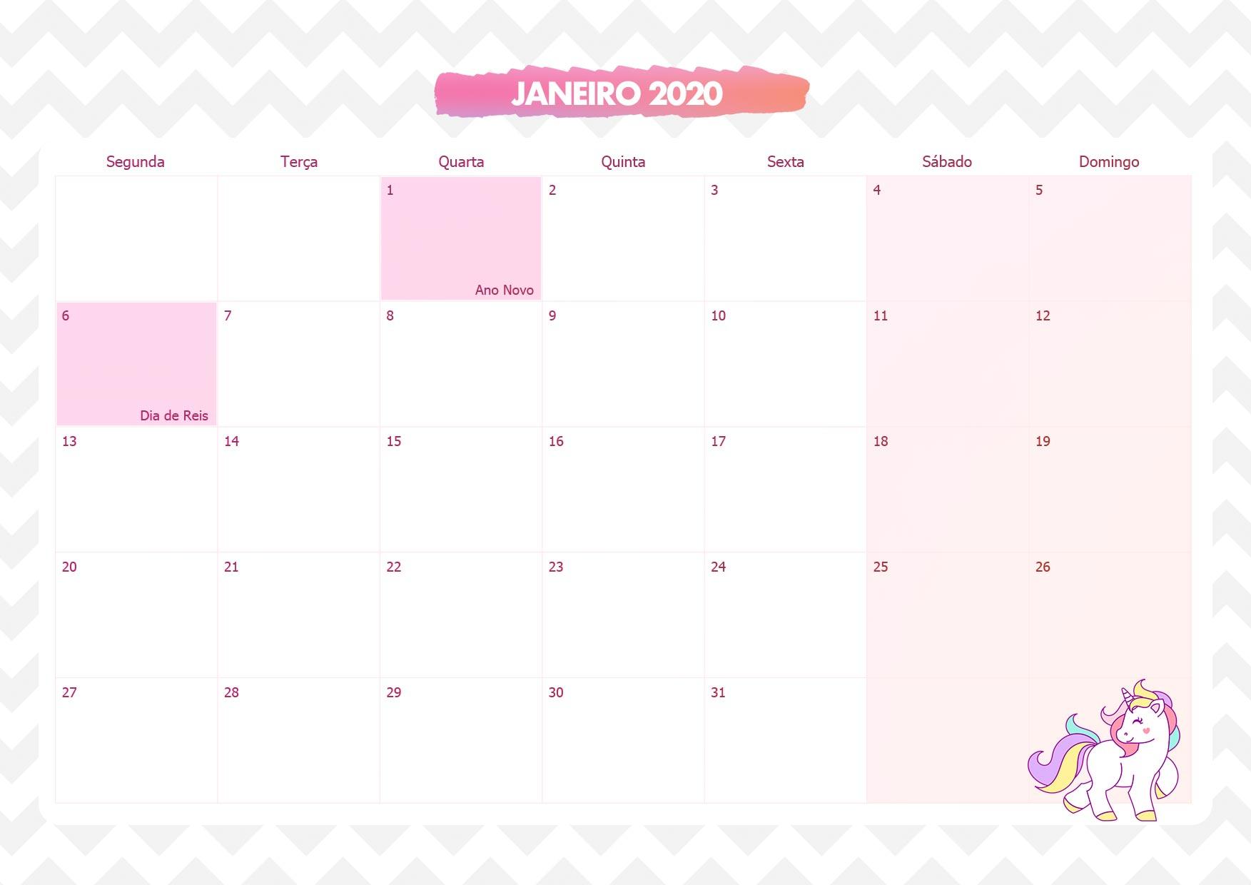Calendario Mensal Unicornio Rosa Janeiro 2020