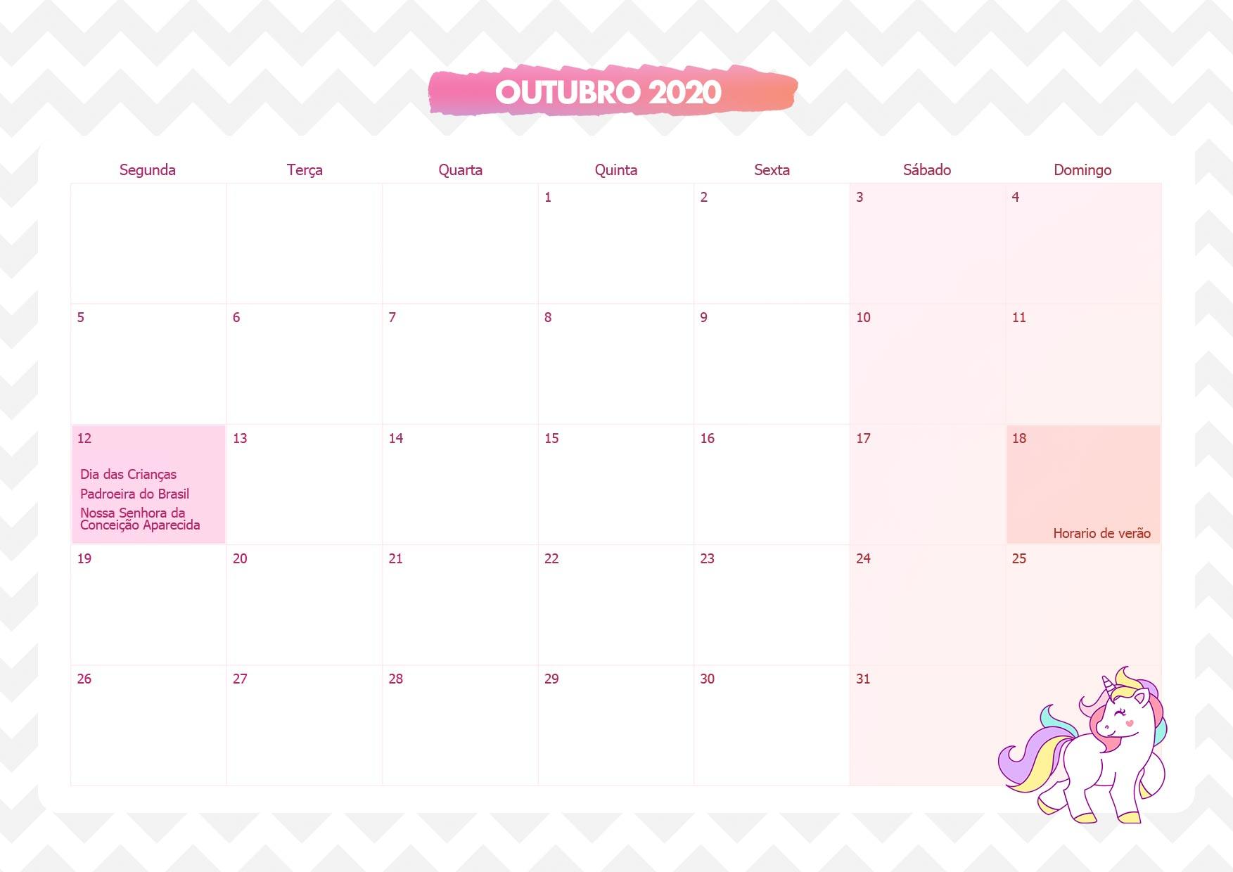Calendario Mensal Unicornio Rosa Outubro 2020