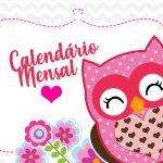 Capa Calendario Mensal Coruja Rosa 2020