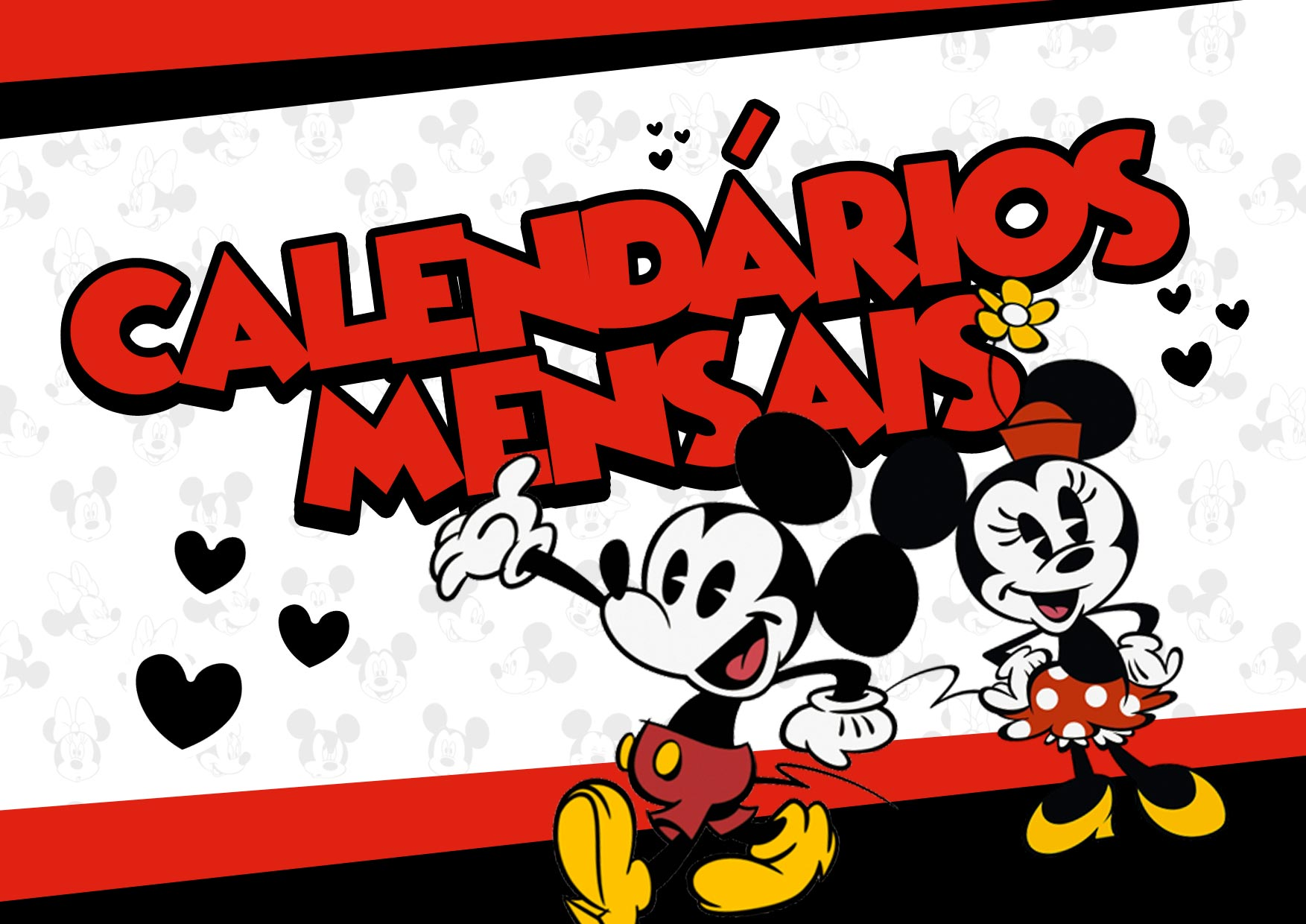 Capa Calendario Mensal Mickey e Minnie 2020