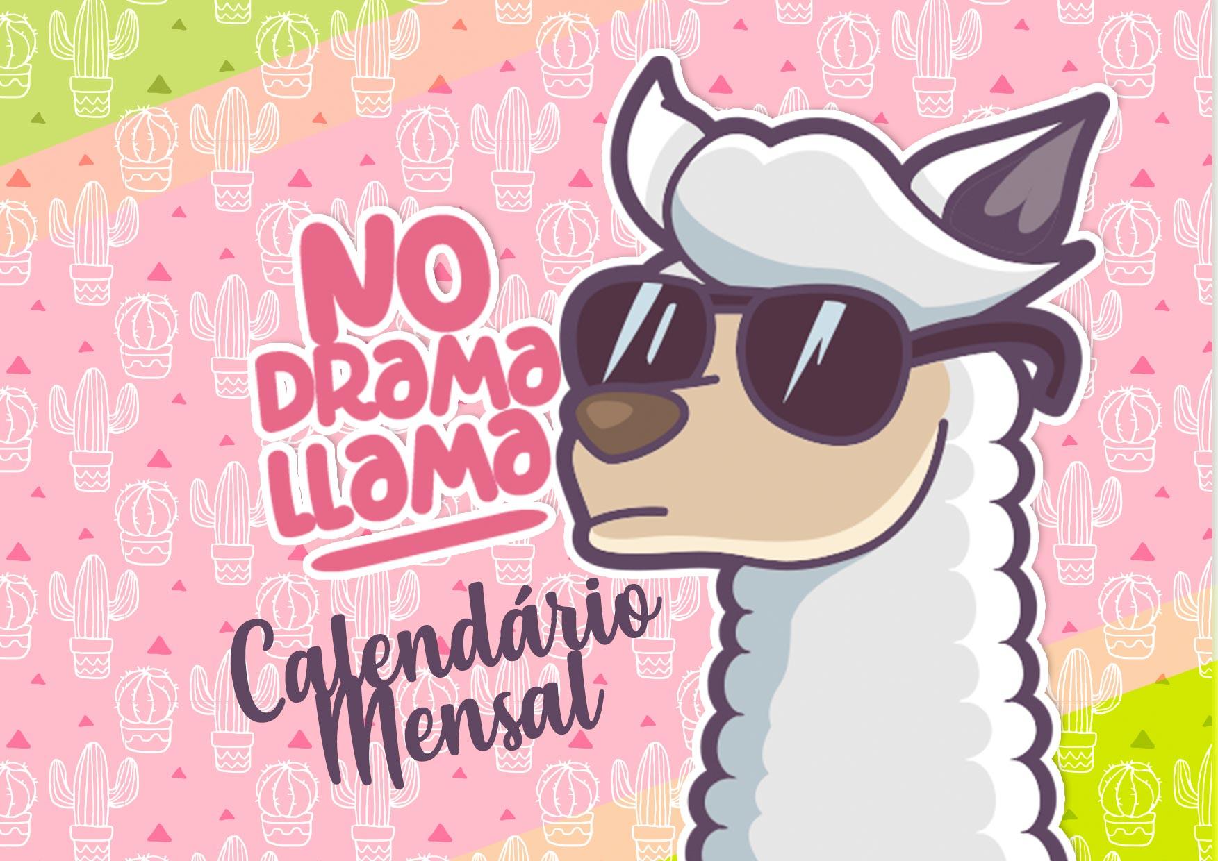 Capa Calendario Mensal No Drama Llama 2020