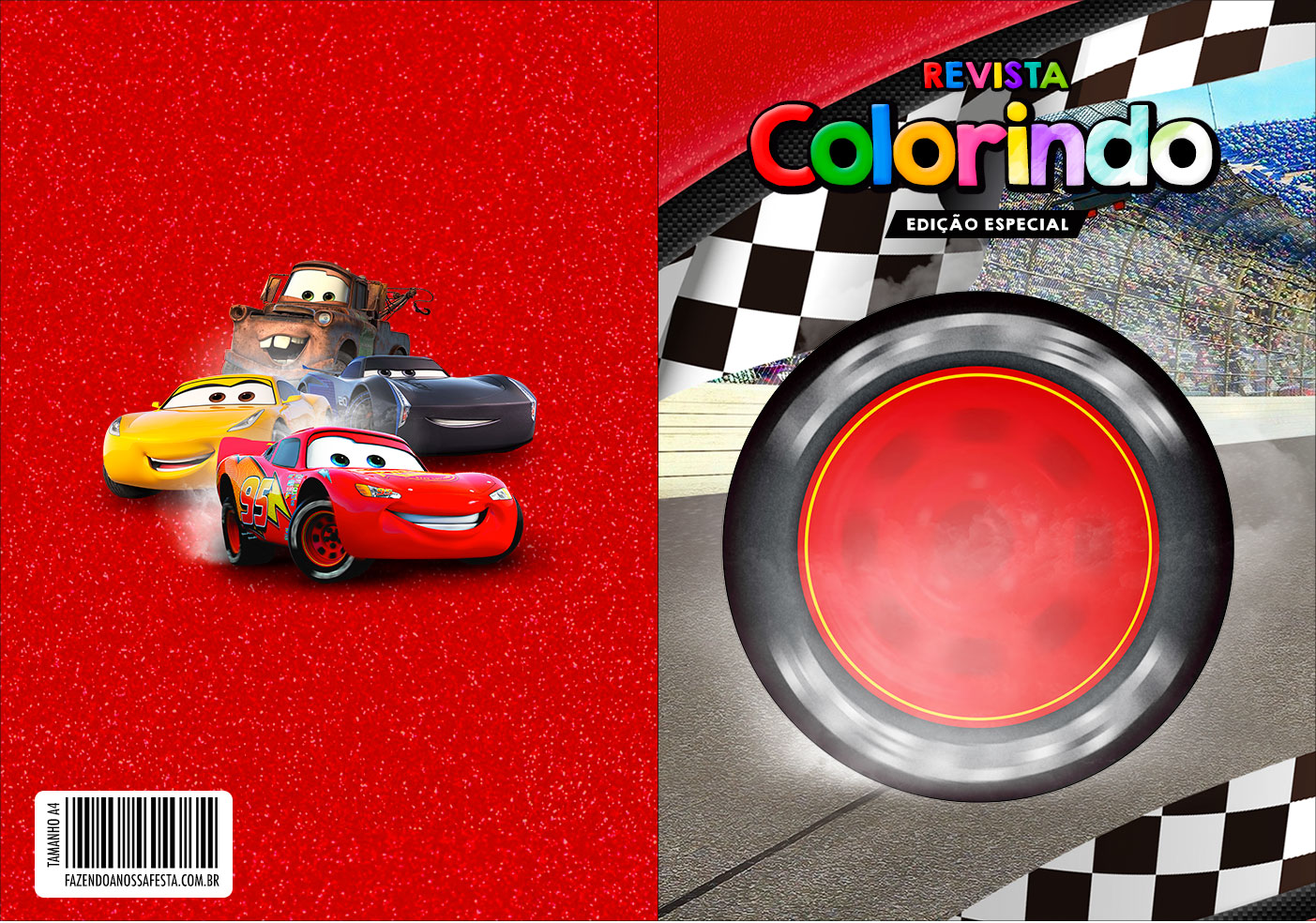 Capa Livrinho para Colorir Carros 3