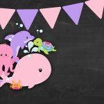Convite Chalkboard Fundo do Mar Rosa 6