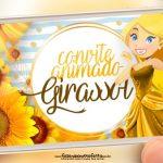 Convite animado Girassol gratis