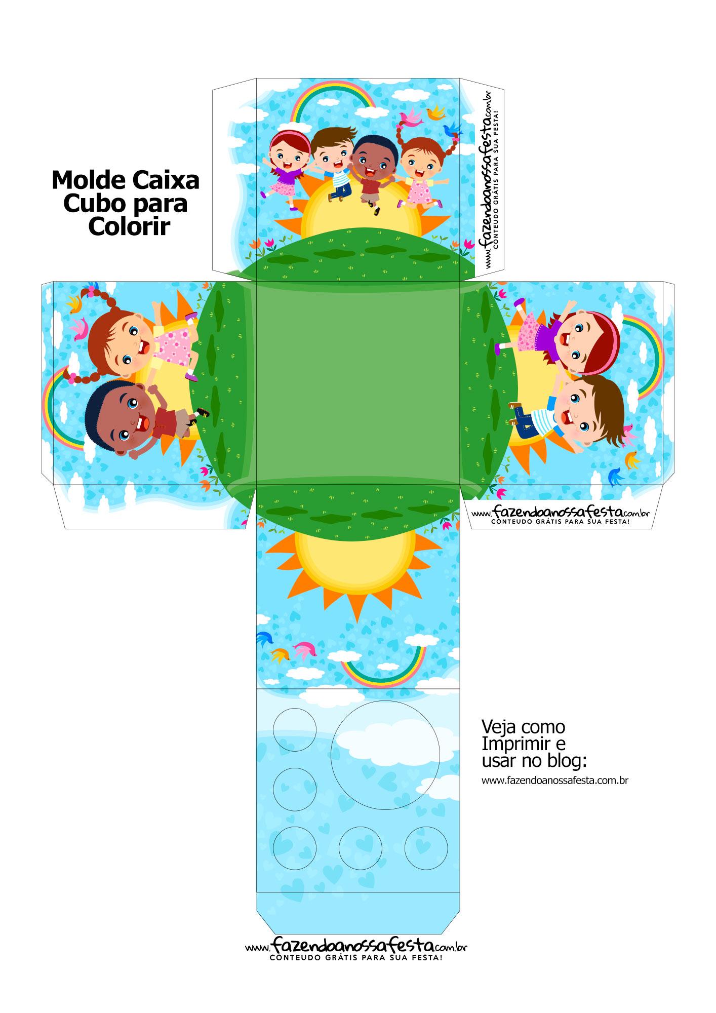 Molde Caixa Kit Colorir Dia das Criancas