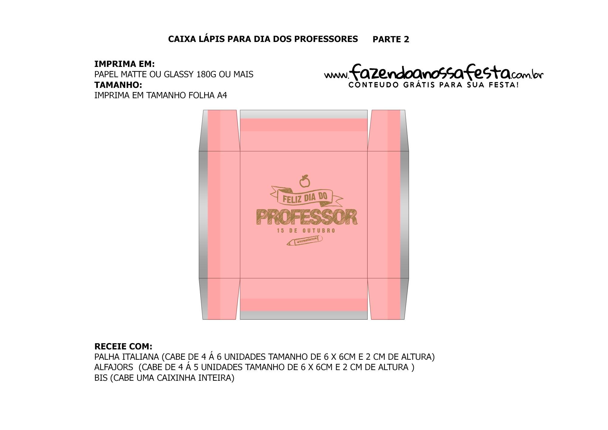 Parte de baixo Caixa Lapis Dia dos Professores rosa