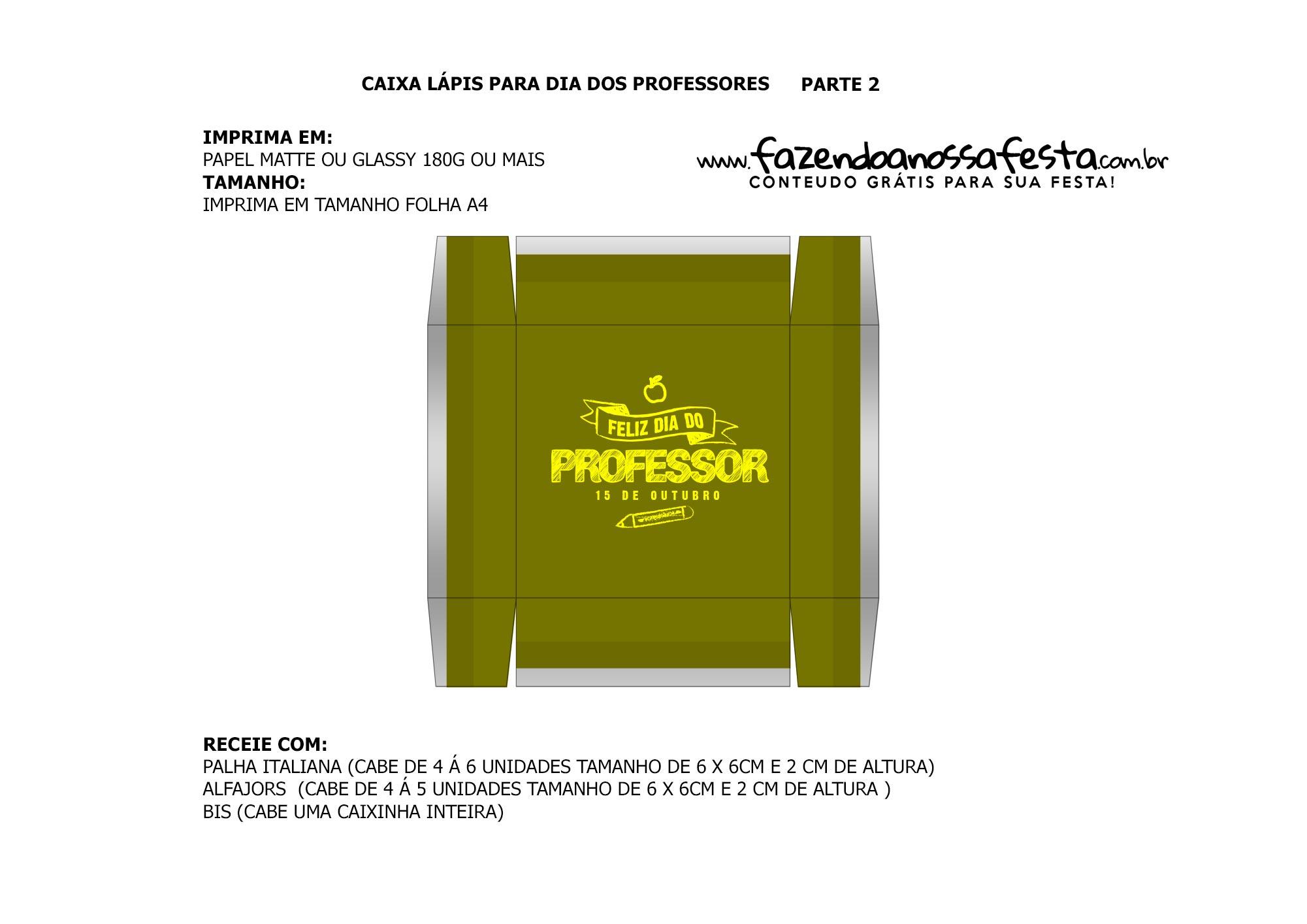 Parte de baixo verde Caixa Lapis Dia dos Professores