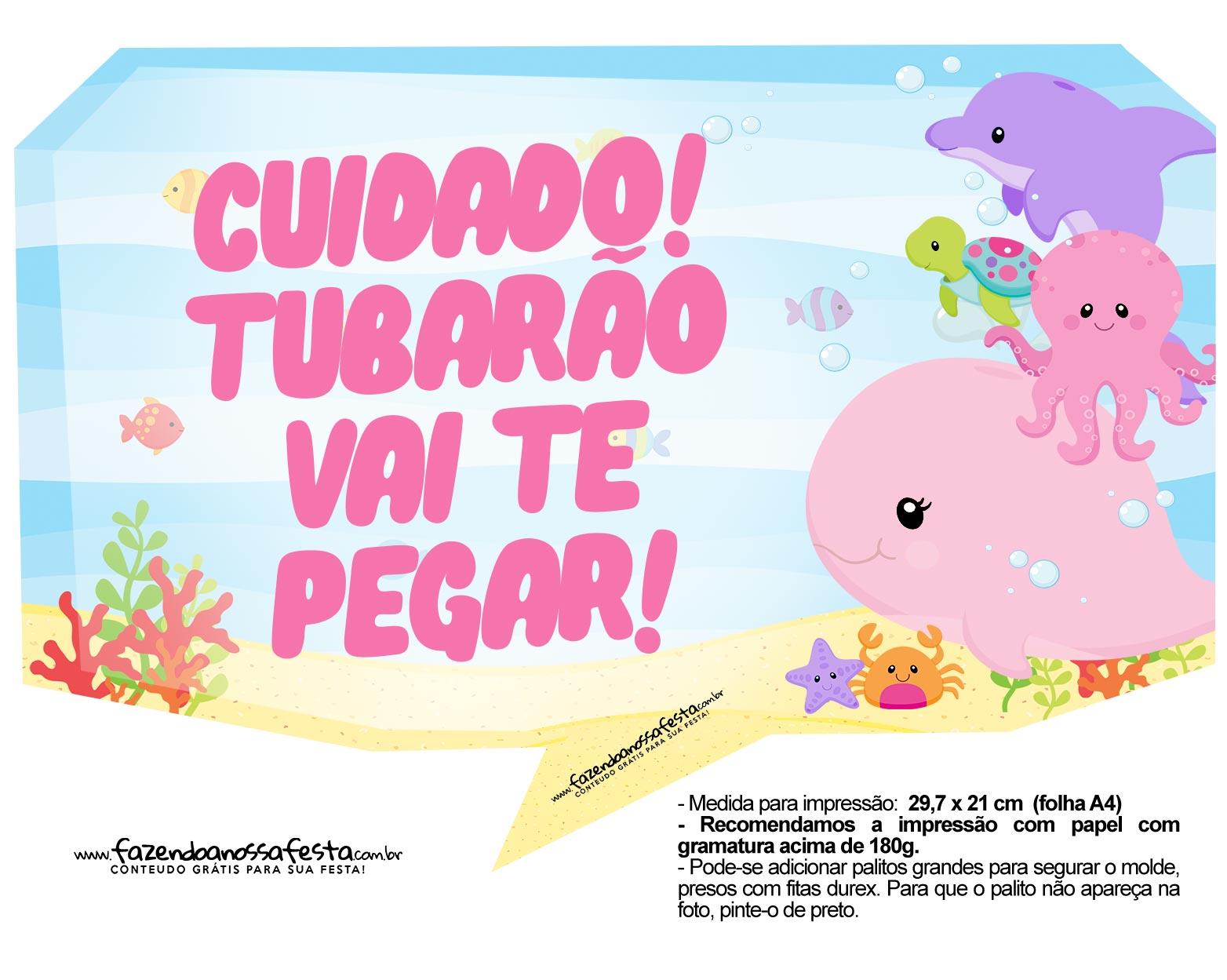 Plaquinha Festa Fundo do Mar Rosa 2