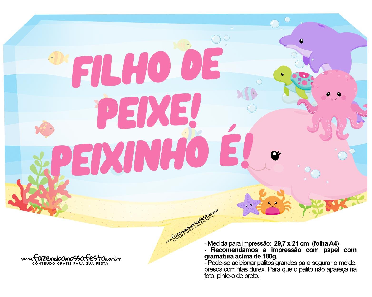 Plaquinha Festa Fundo do Mar Rosa 3