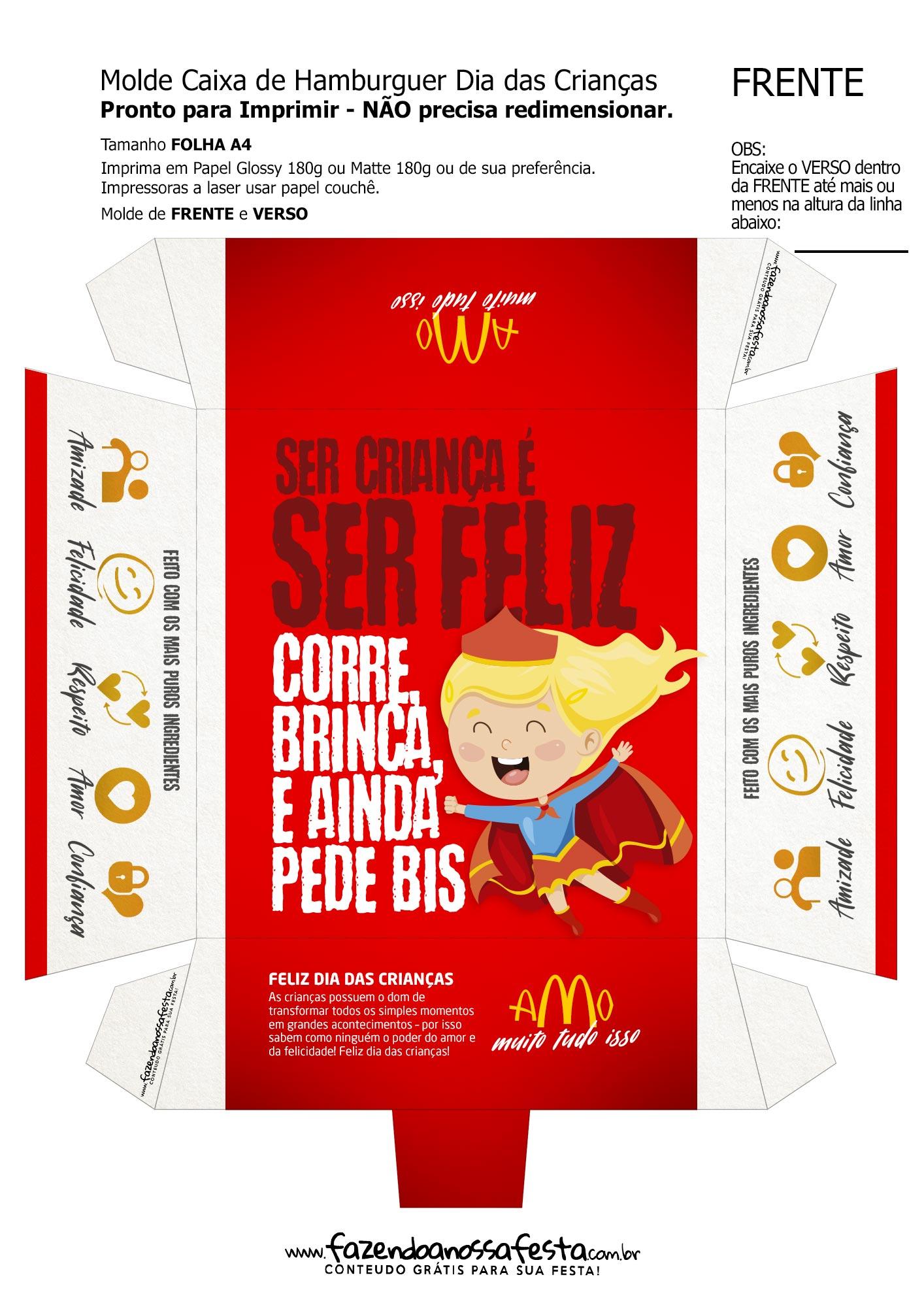 caixa hamburguer dia das criancas gratis