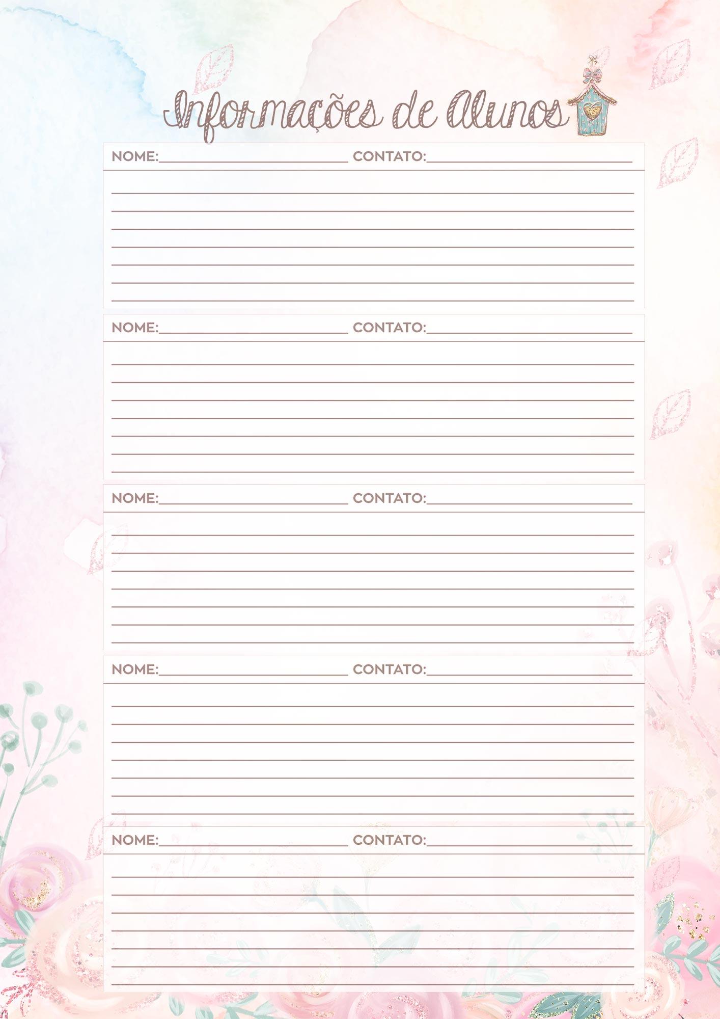 Caderno de Planejamento Corujinha Rosa Informacoes de Alunos