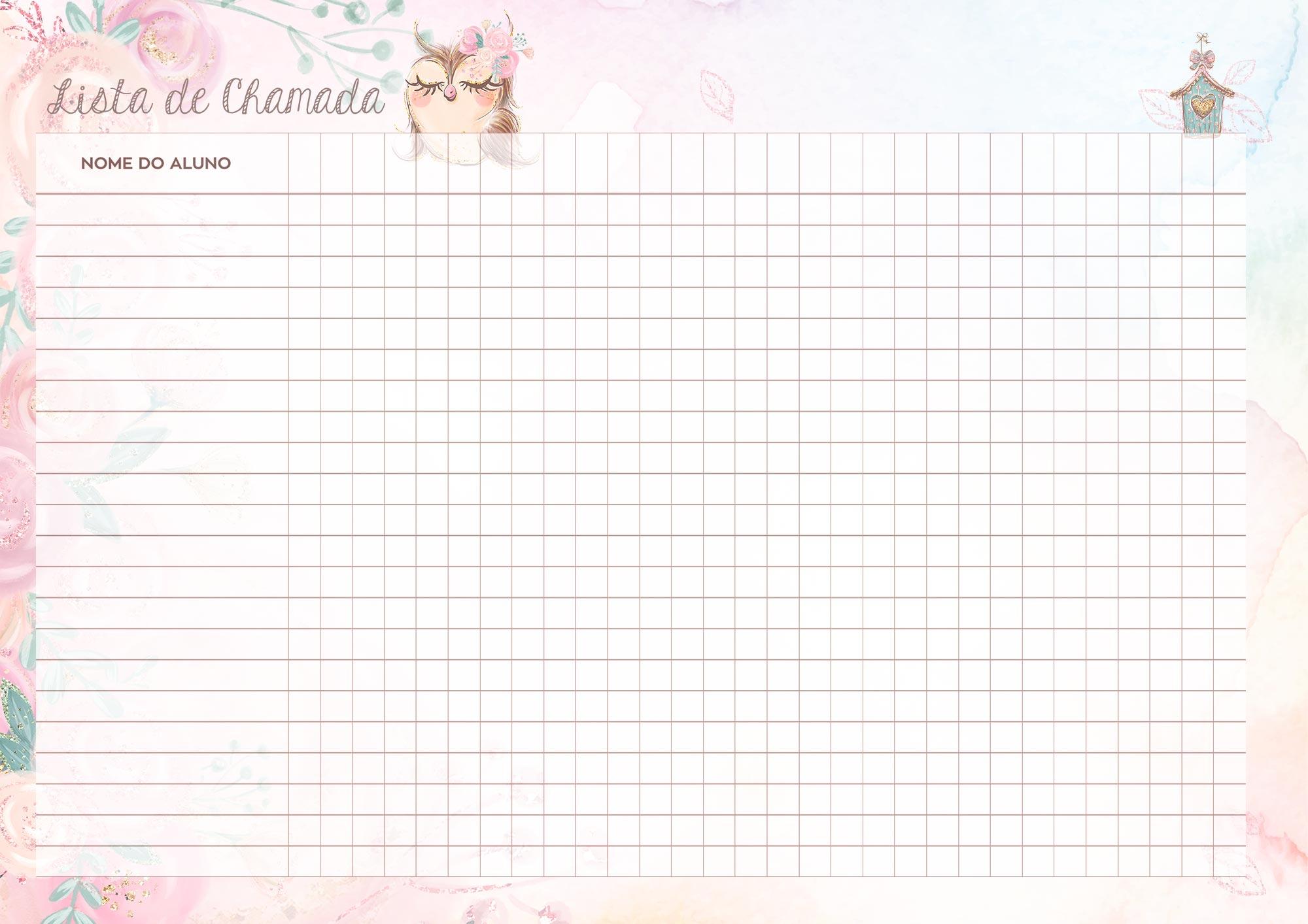 Caderno de Planejamento Corujinha Rosa Lista de Chamada