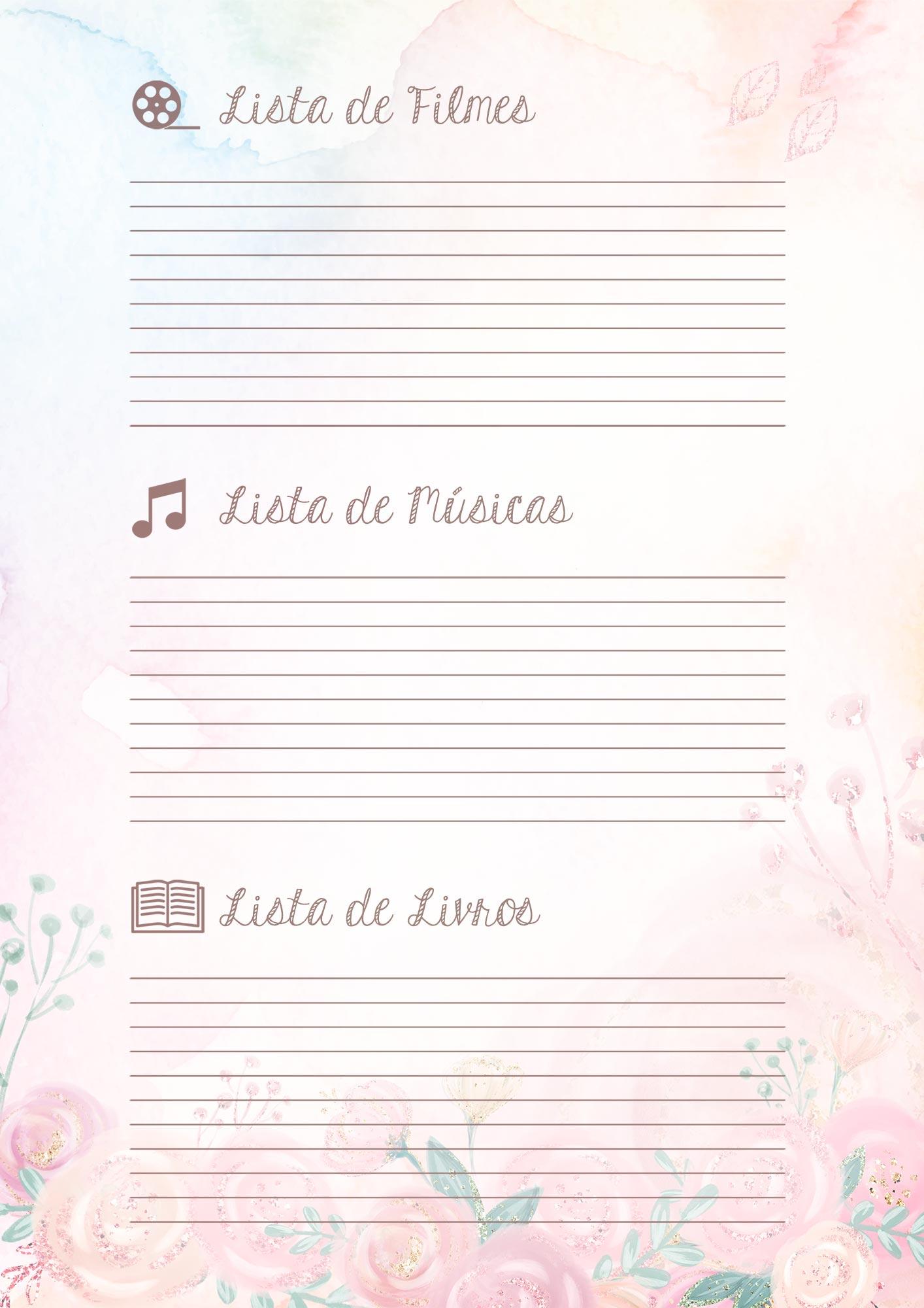 Caderno de Planejamento Corujinha Rosa Lista de Filmes Musicas Livros