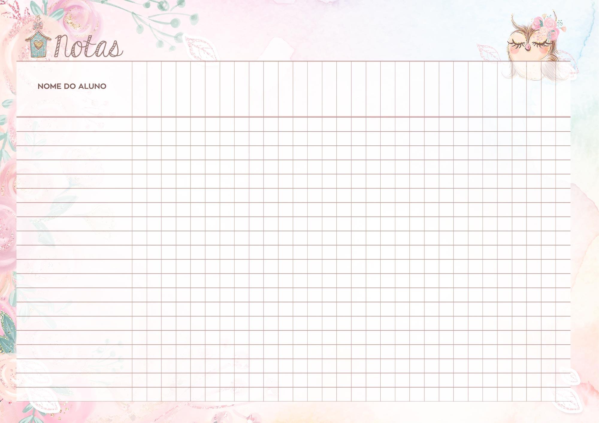 Caderno de Planejamento Corujinha Rosa Notas