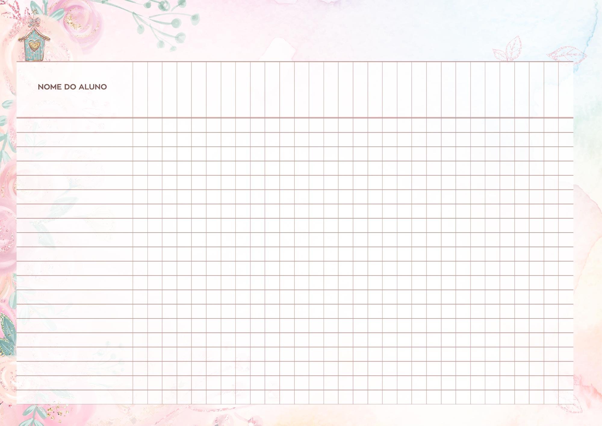 Caderno de Planejamento Corujinha Rosa Tabela em Branco