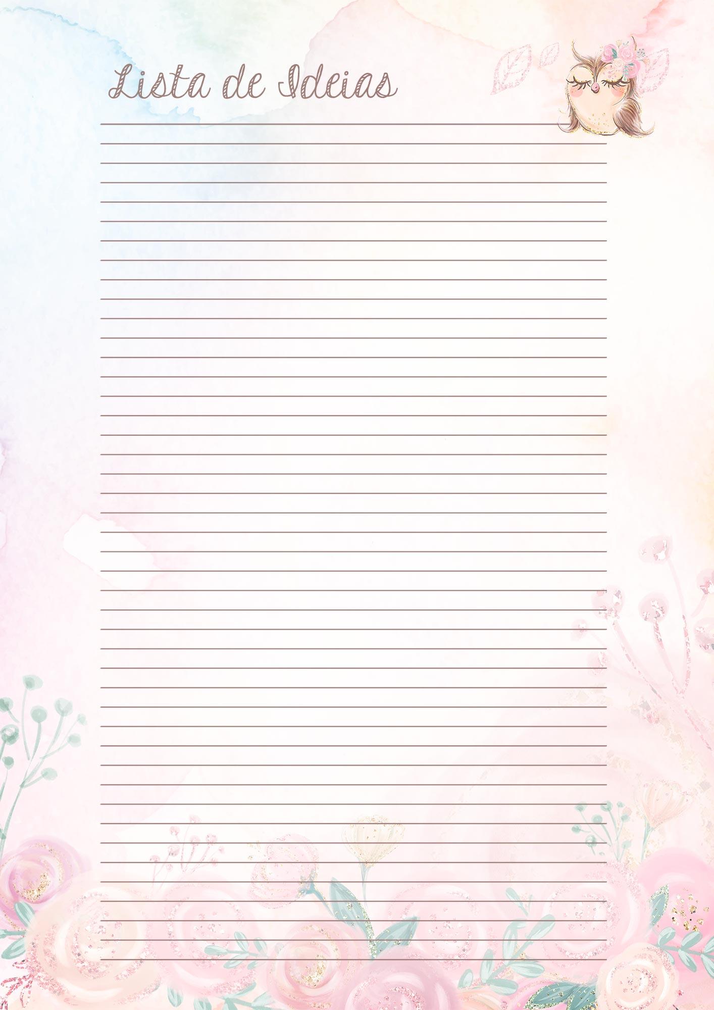 Caderno de Planejamento Corujinha rosa Lista de Metas