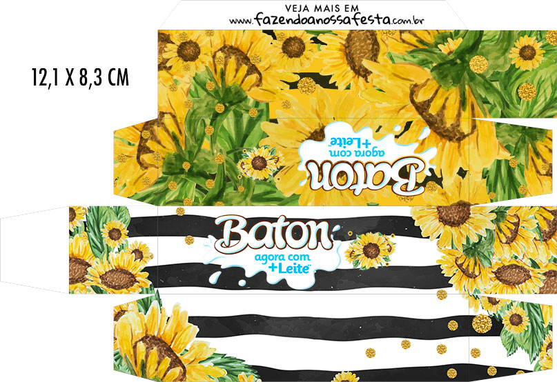 Caixa Baton Kit festa Girassol