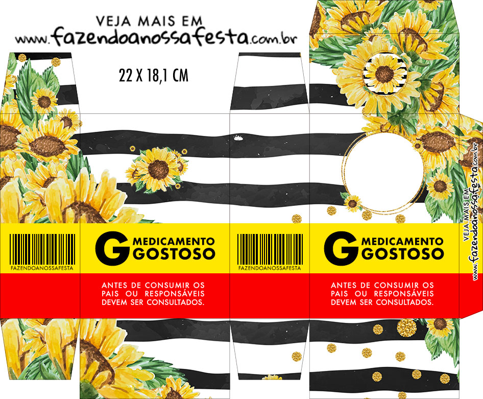 Caixinha de Remedio Personalizada Girassol
