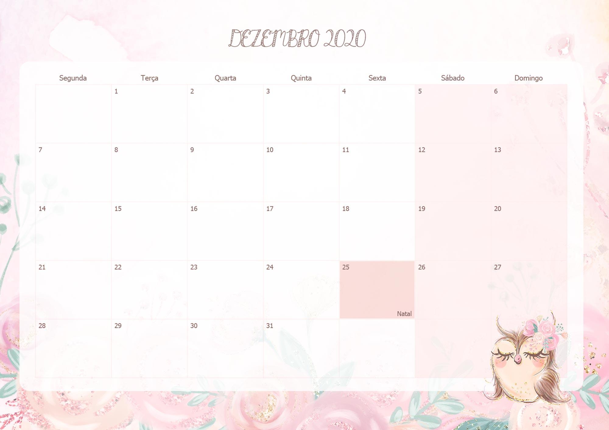 Calendario Mensal Corujinha Dezembro 2020