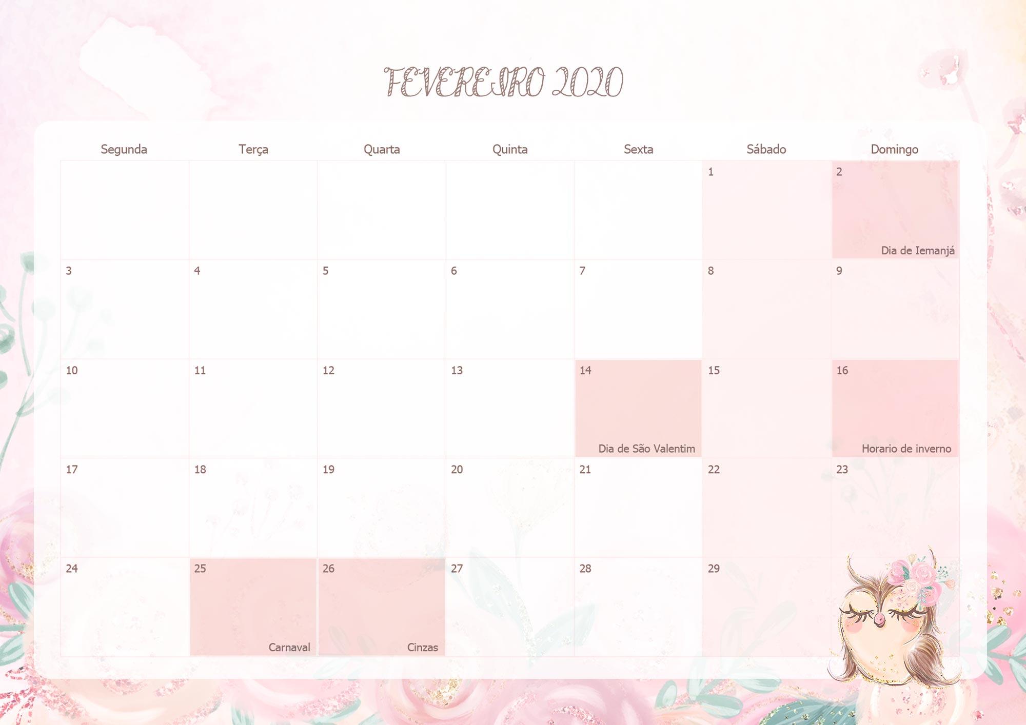 Calendario Mensal Corujinha Fevereiro 2020