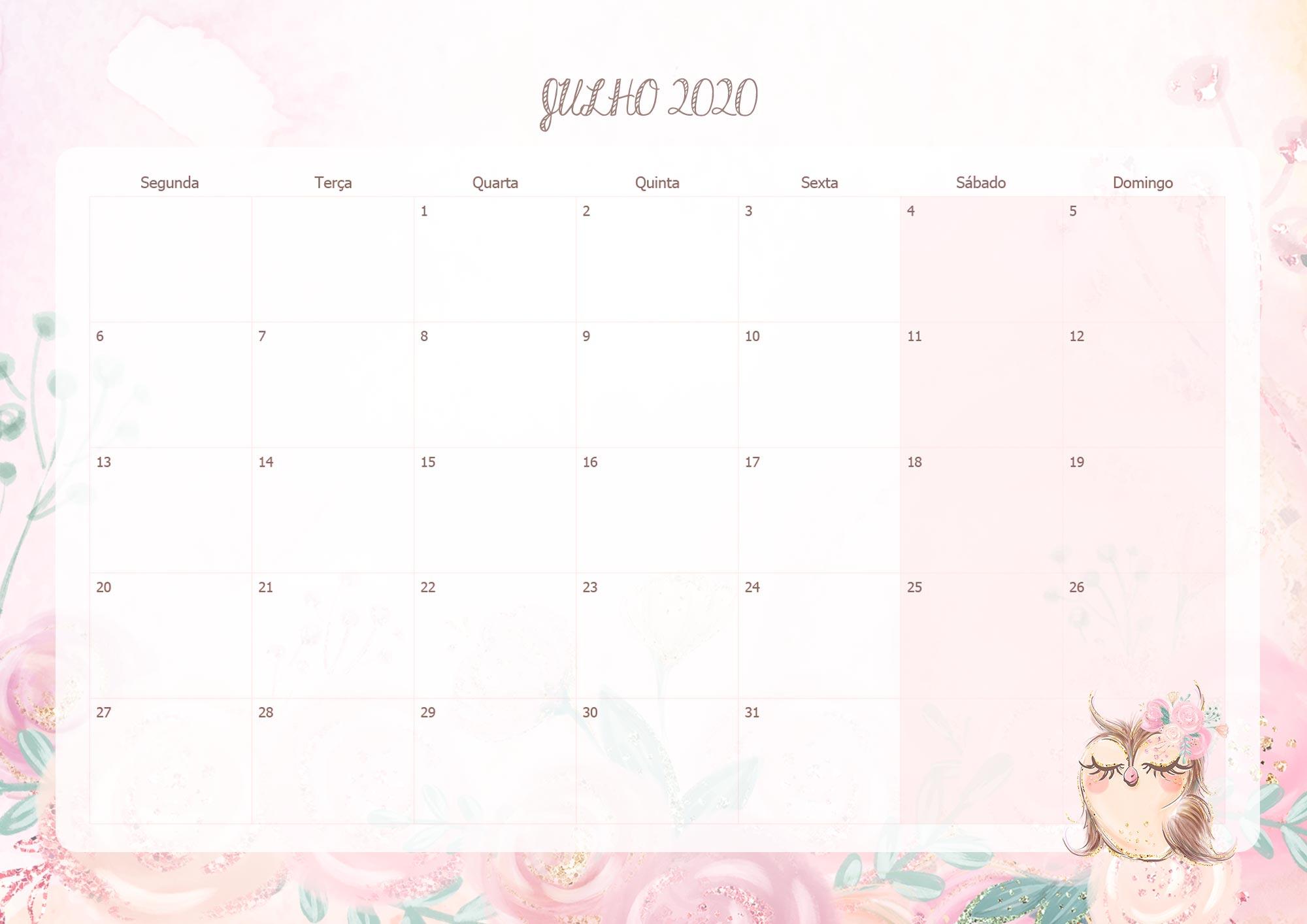 Calendario Mensal Corujinha Julho 2020