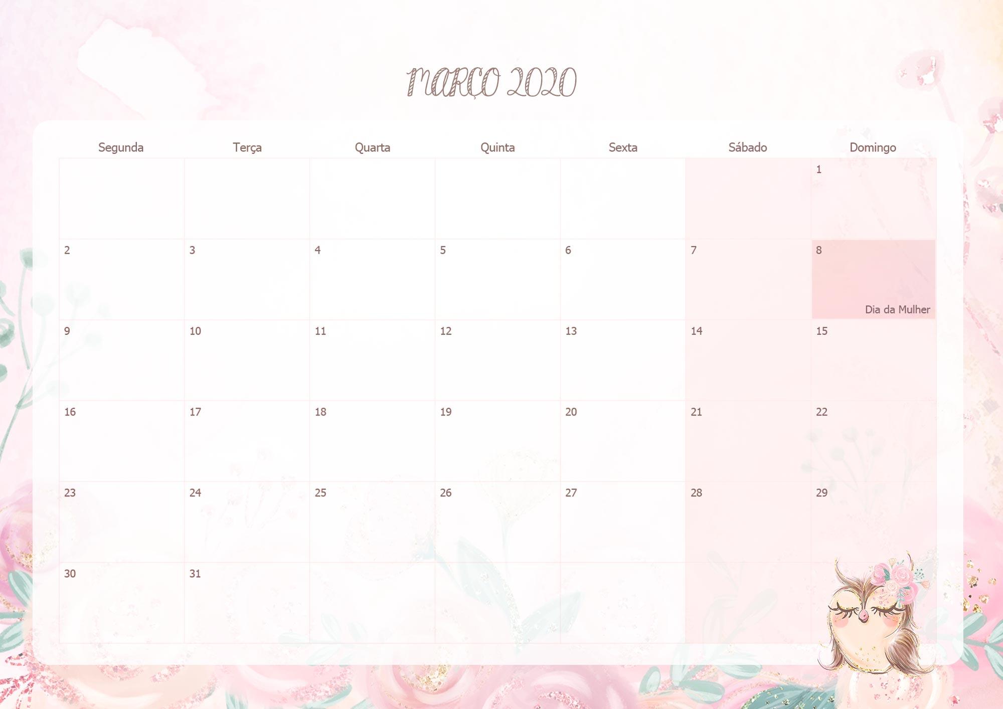 Calendario Mensal Corujinha Marco 2020
