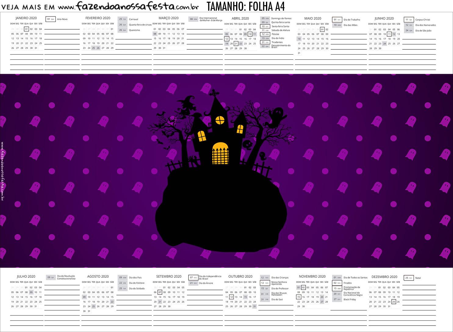Calendario Personalizado 2019 Halloween