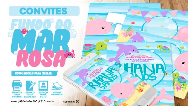 Convite Festa Fundo do Mar Rosa Gratis para imprimir