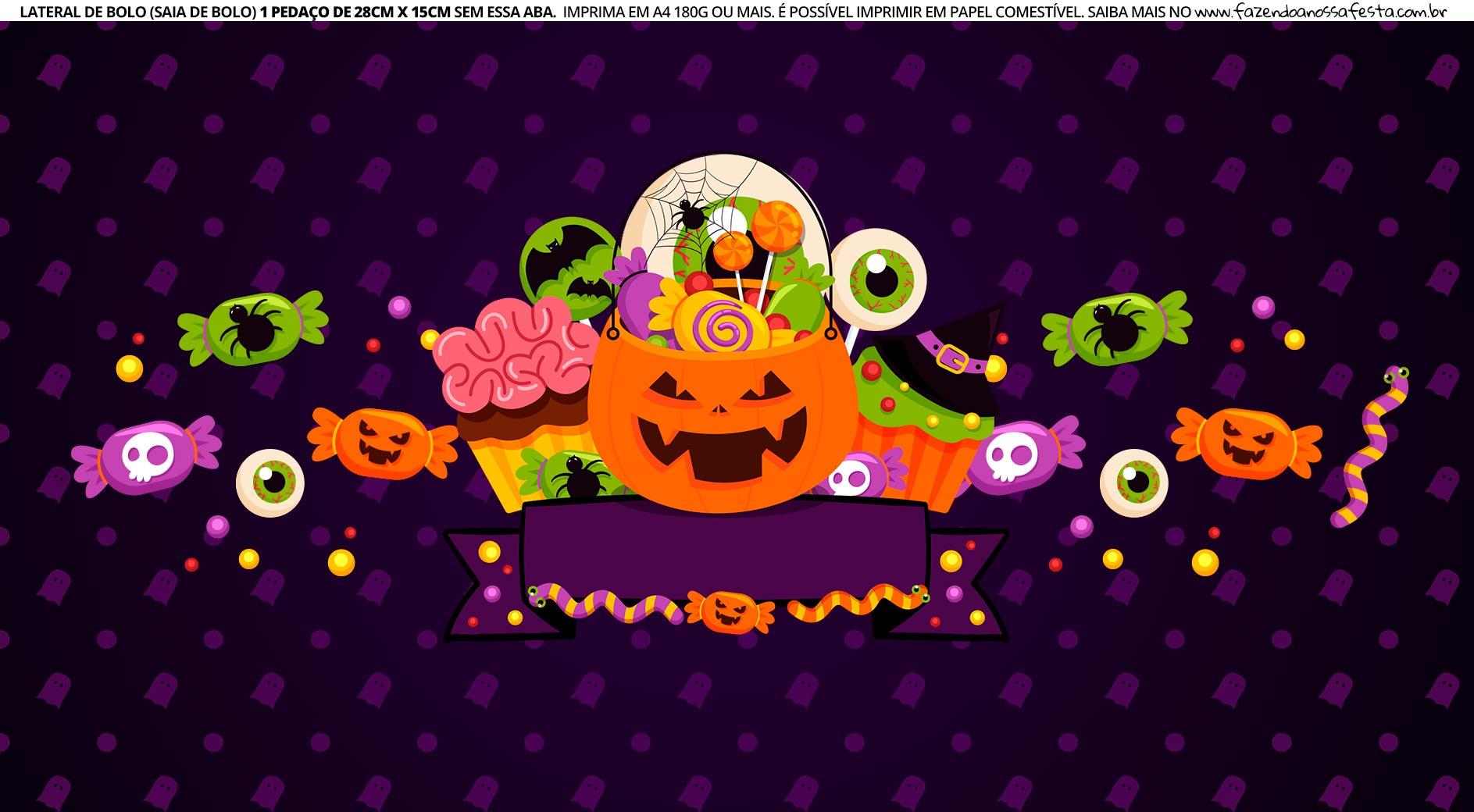 Faixa Lateral de Bolo Tema Halloween Abobora