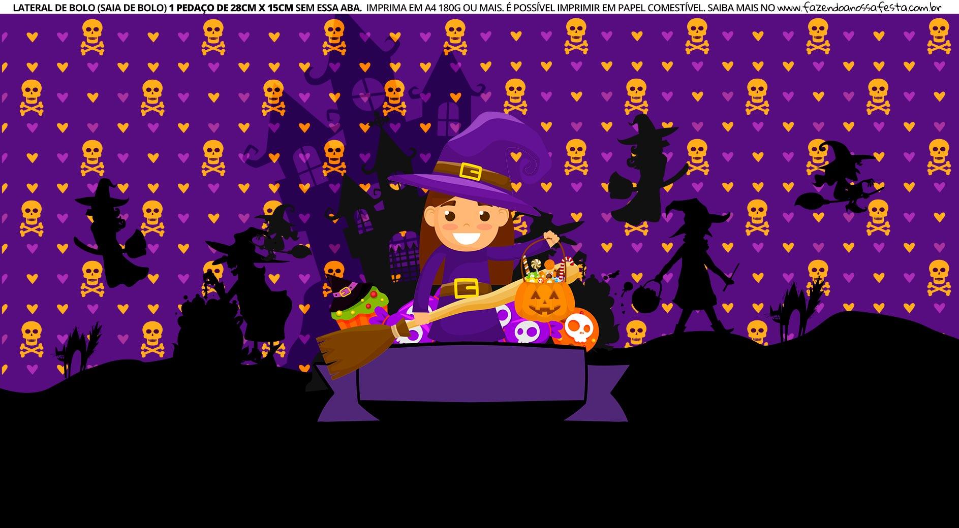 Faixa Lateral de Bolo Tema Halloween Bruxinha