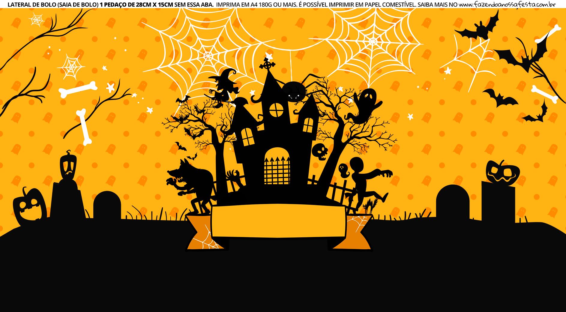 Faixa Lateral de Bolo Tema Halloween Castelo