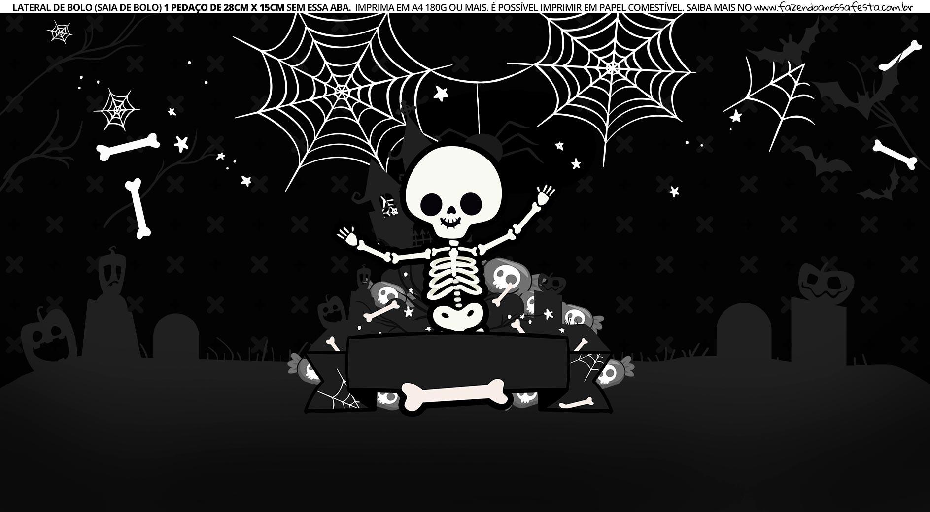 Faixa Lateral de Bolo Tema Halloween Esqueleto