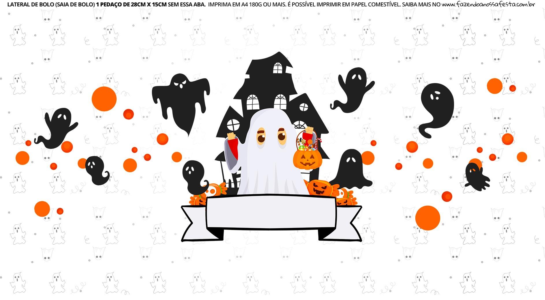 Faixa Lateral de Bolo Tema Halloween Fantasma
