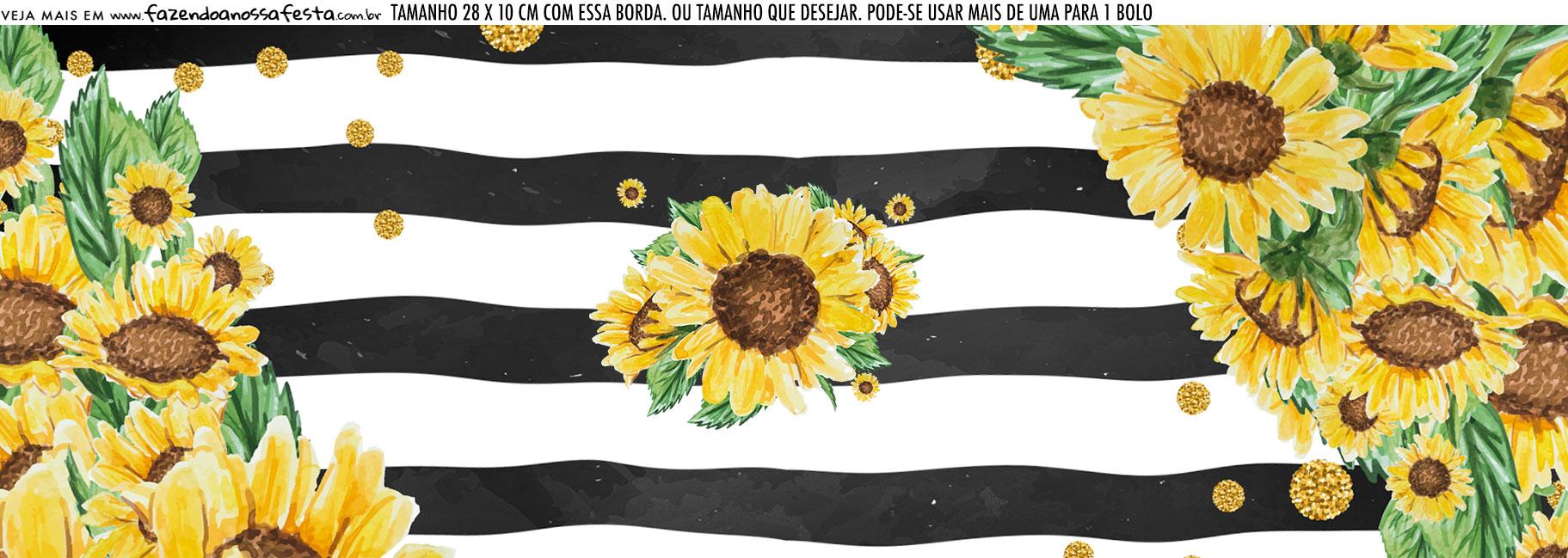 Saia Lateral de Bolo Kit Festa Girassol