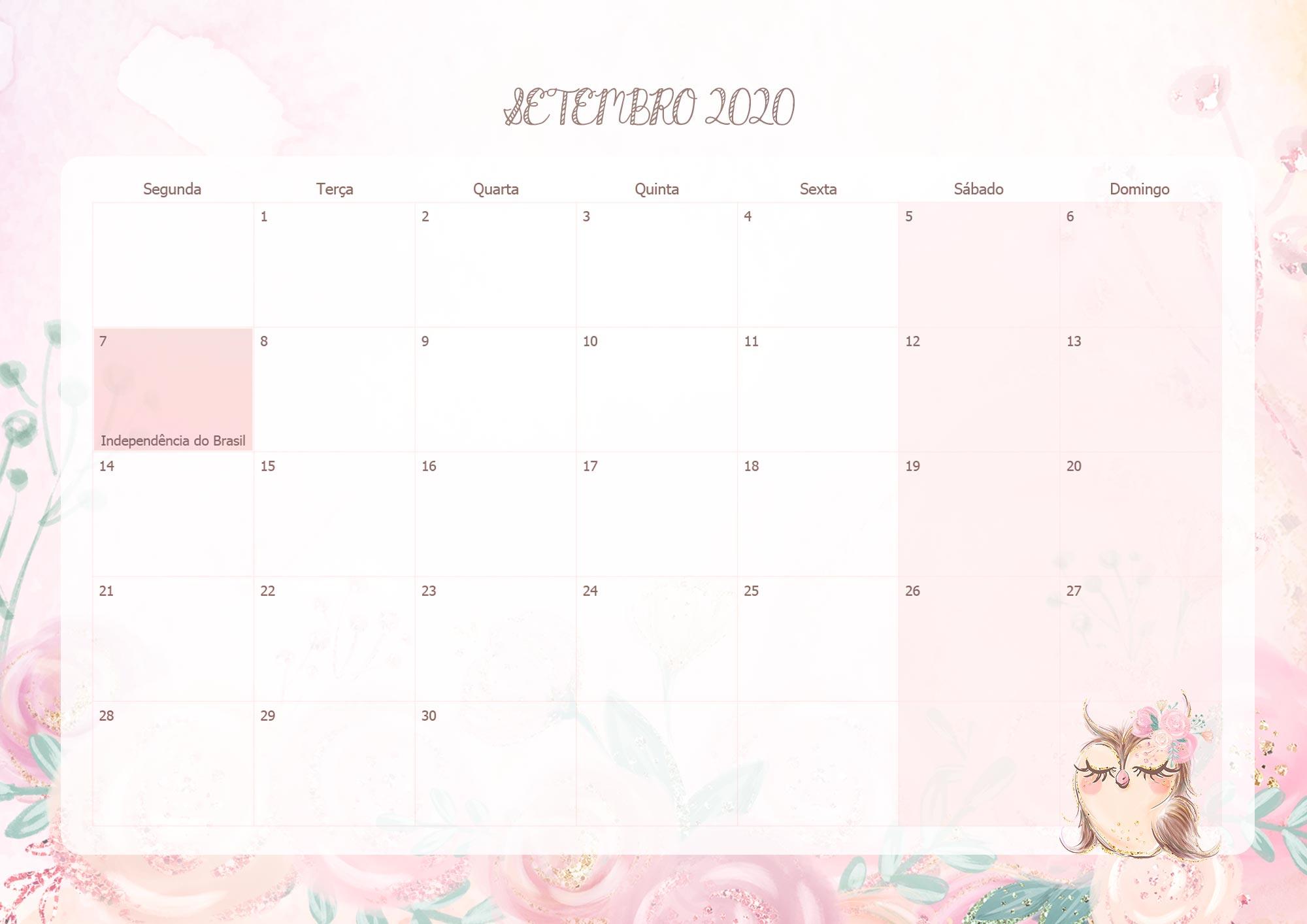 Calendario Mensal Corujinha Setembro